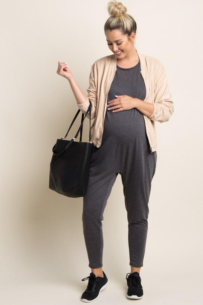 charcoal heathered short sleeve maternity jumpsuit