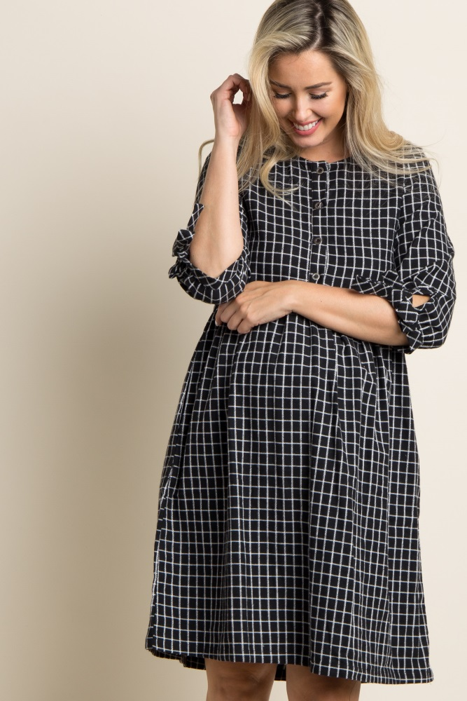 386263056f Black Plaid Button Front Maternity Babydoll Dress