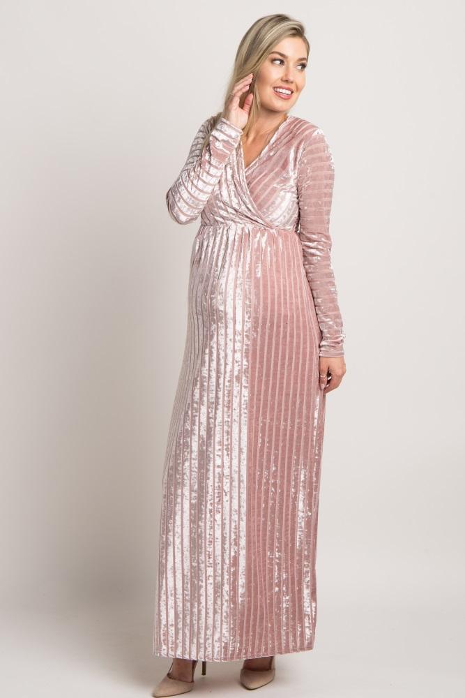fd5be9078d Mauve Striped Velvet Maternity Maxi Dress