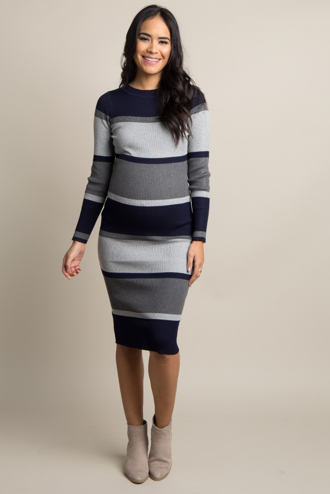 27aa33a9a46f9 Navy Striped Ribbed Fitted Maternity Midi Dress