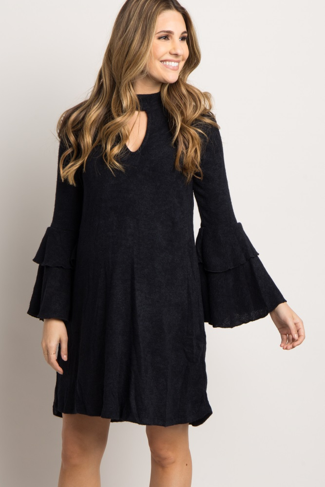 fede4594b74 Black Ruffle Bell Sleeve Maternity Sweater Dress