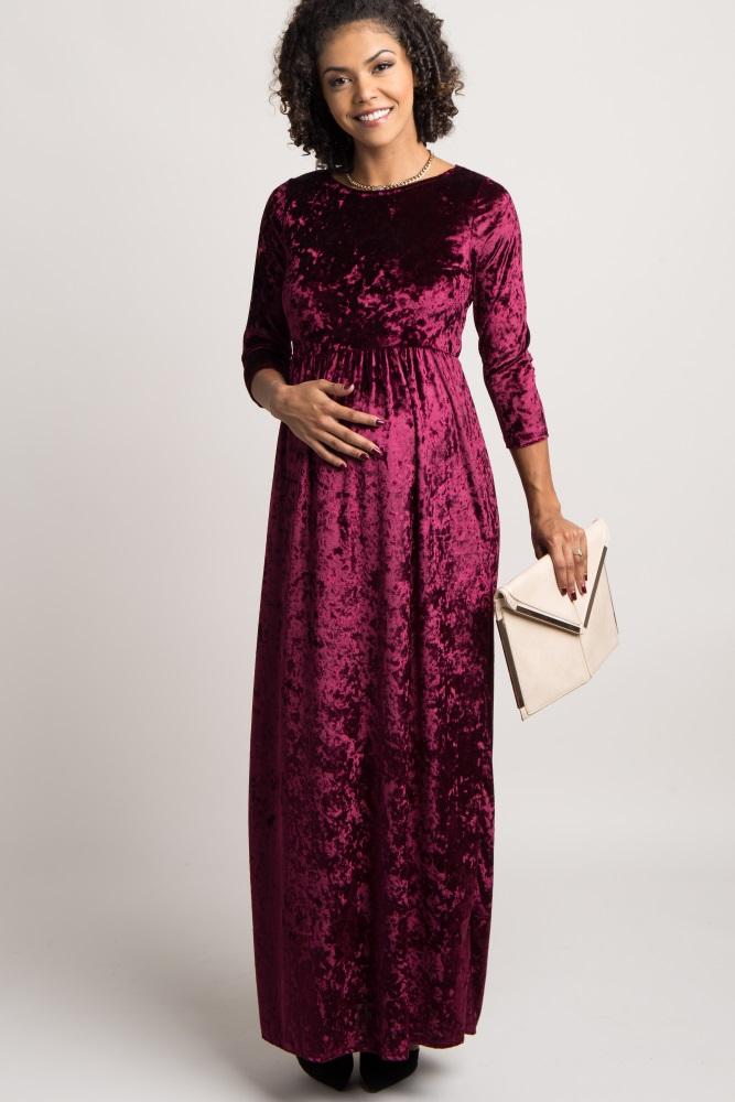 9ddf8f2cbe Burgundy Crushed Velvet 3 4 Sleeve Maternity Maxi Dress