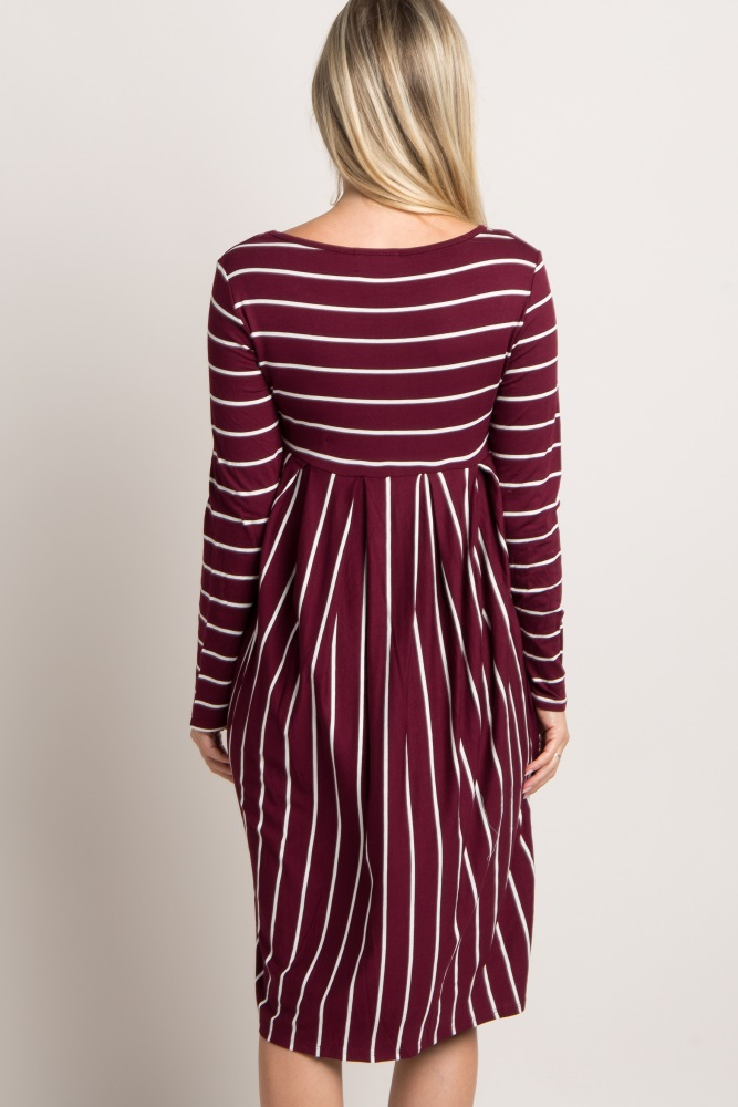 890bf78b3f Burgundy Striped Long Sleeve Maternity Dress