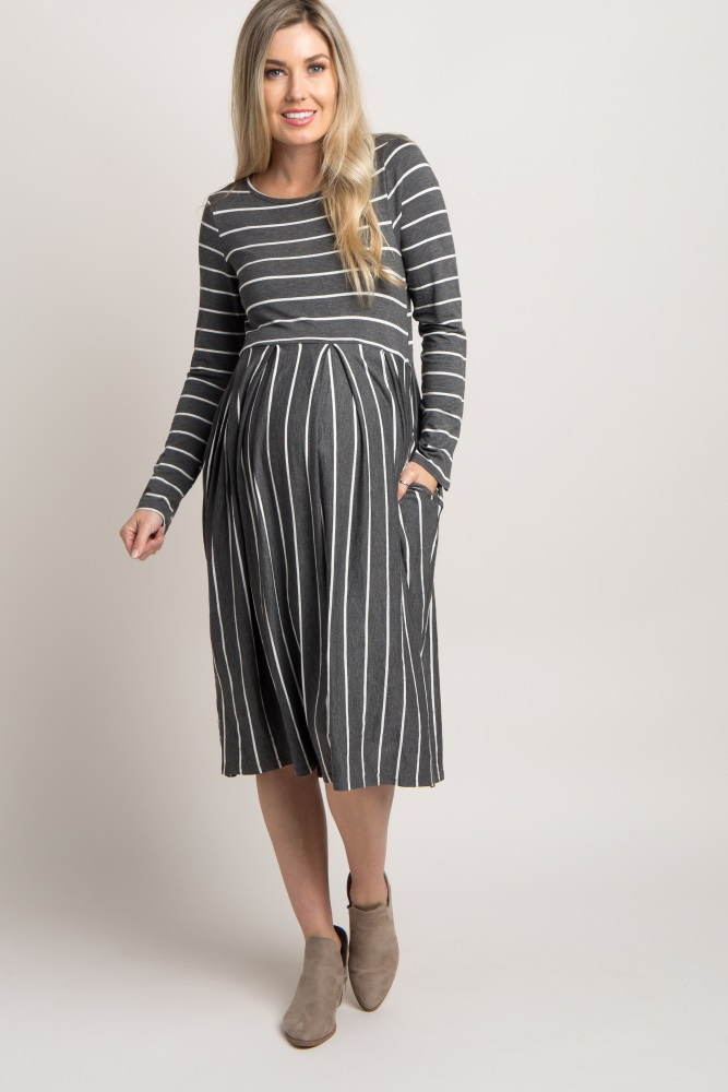 ddd4cb7ac47b1 Charcoal Grey Striped Long Sleeve Maternity Midi Dress