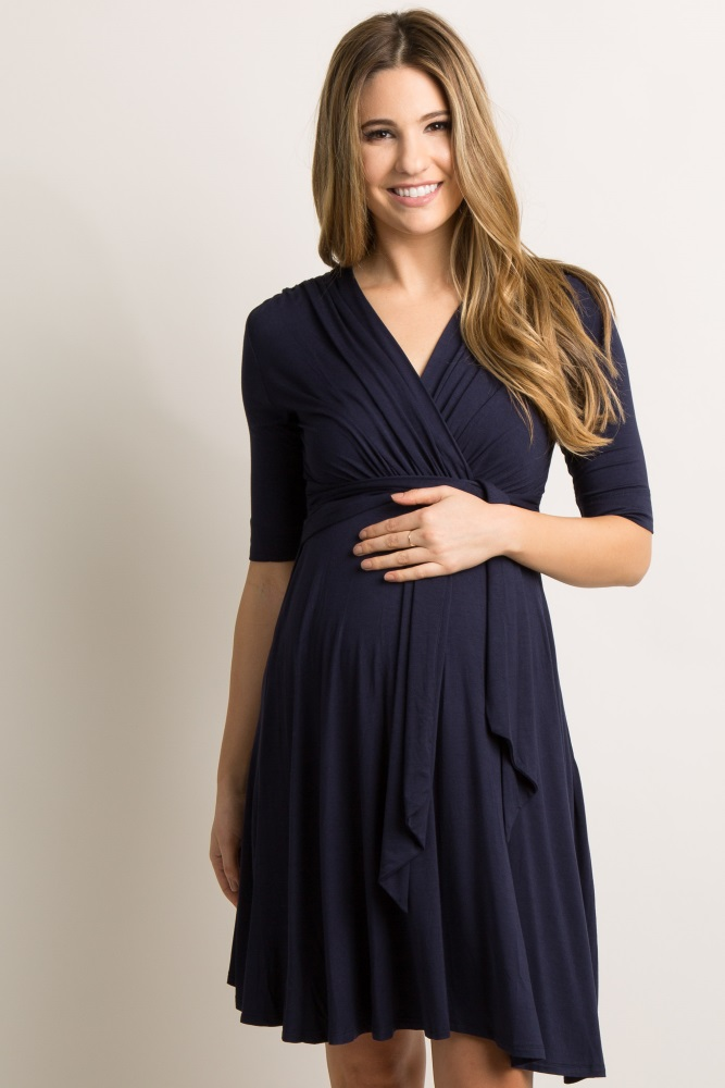 6e8cd08a6d0 Navy Blue Draped Tie Front Maternity Dress