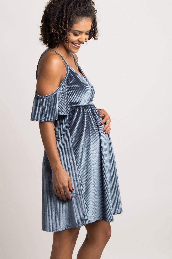 1f4490f0d00c0 Navy Blue Ribbed Velvet Cold Shoulder Maternity Dress