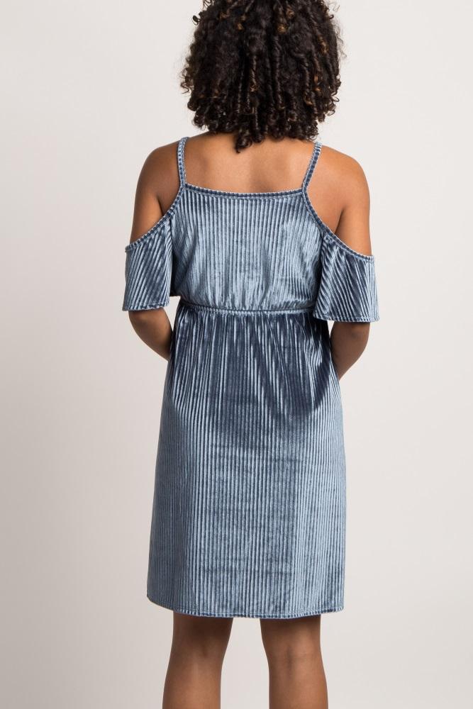 d9bc1a0fa0 Navy Blue Ribbed Velvet Cold Shoulder Maternity Dress