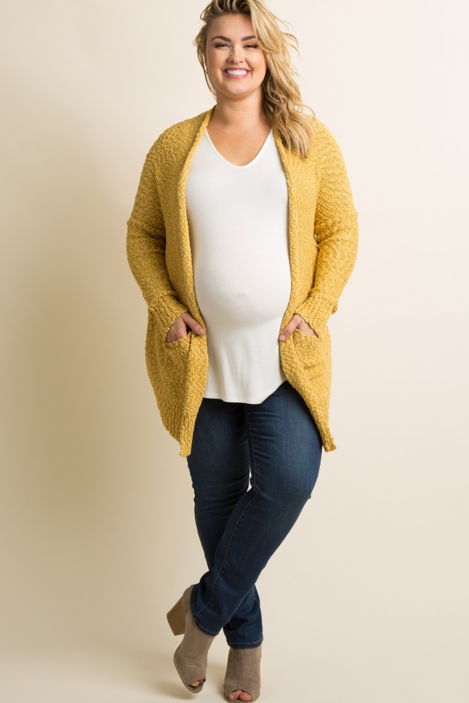 3bfa3d6acb Yellow Popcorn Knit Plus Maternity Cardigan