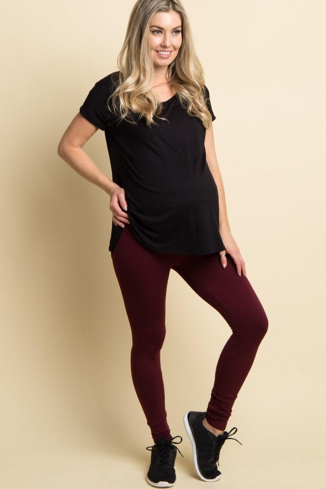 ff34b916954b5 Burgundy Basic Fleece Maternity Leggings