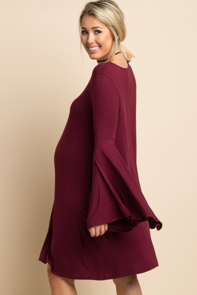 da8d1ea1995f3 Burgundy Solid Bell Sleeve Maternity Dress