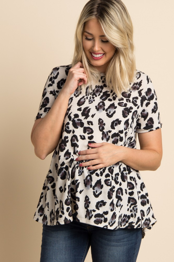 c09480fc3fde5 Grey Leopard Print Short Sleeve Maternity Top