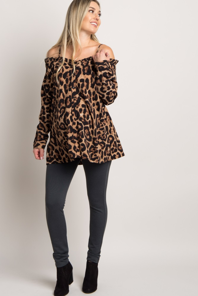 5d46ee76ba58 Mocha Leopard Print Open Shoulder Maternity Top