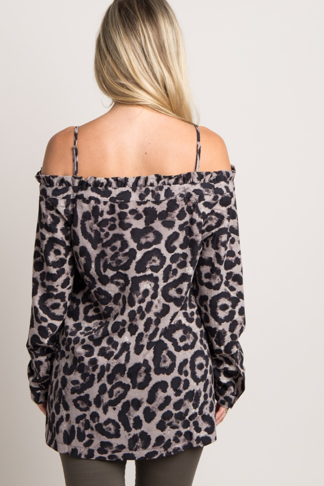 ee2b4fdcabc6 Grey Leopard Print Open Shoulder Maternity Top
