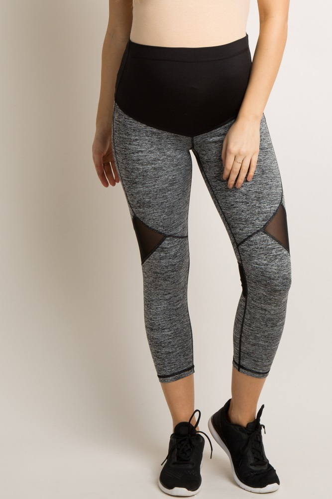 9b9711fd1ed26 Grey Side Mesh Panel Active Capri Maternity Leggings