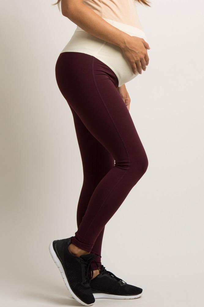 70587a811a53e Burgundy Active Crisscross Ankle Maternity Leggings