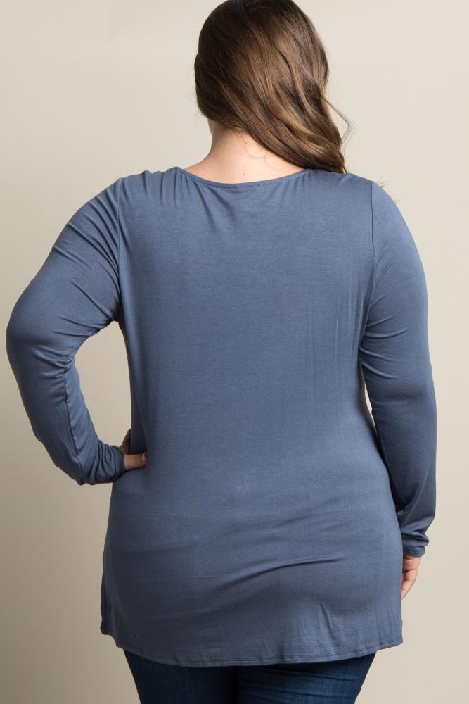 3253a465d0e3a Blue Solid Crisscross Knot Long Sleeve Plus Maternity Top