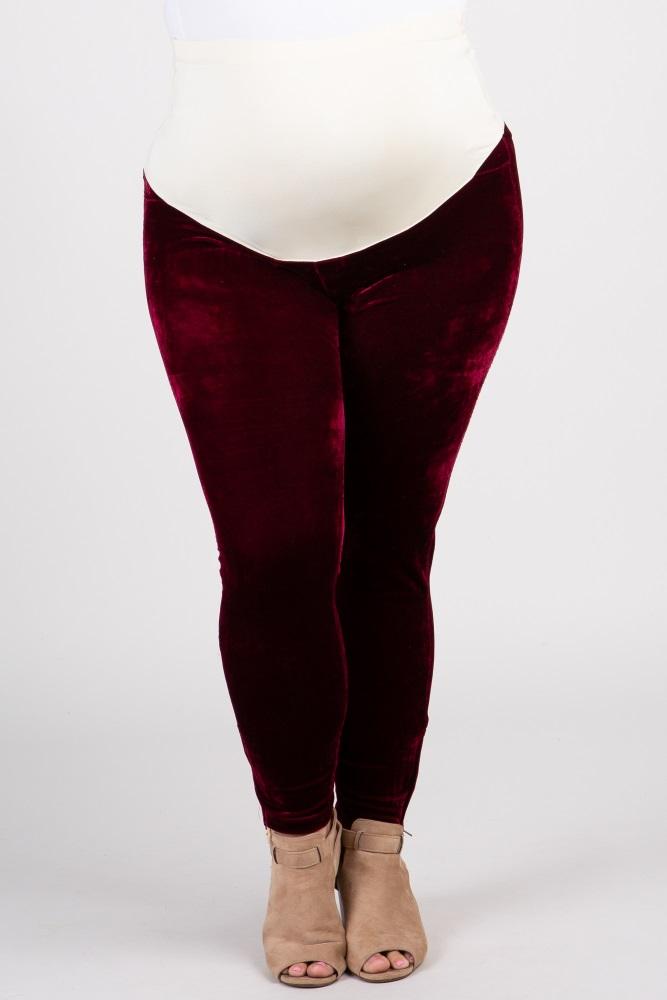 1c48371345a17 Burgundy Velvet Zipper Accent Plus Maternity Leggings