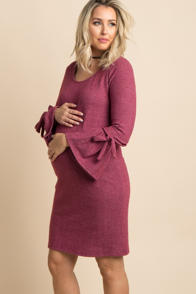 acbe5228c0c Burgundy Sleeve Tie Soft Knit Maternity Sweater Dress