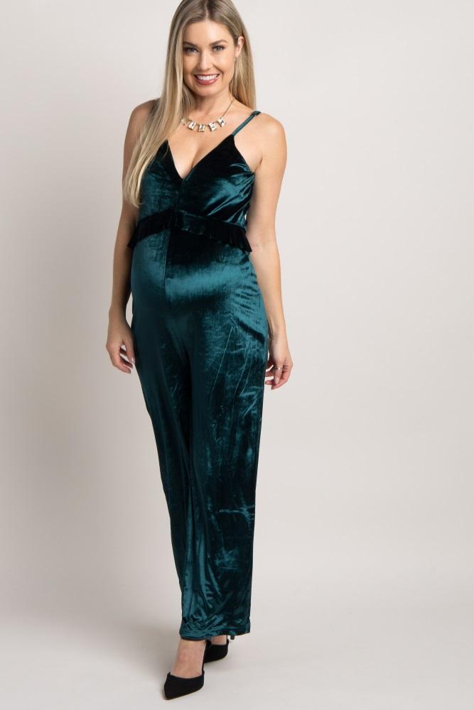 Emerald Green Velvet Ruffle Cami Strap Maternity Jumpsuit