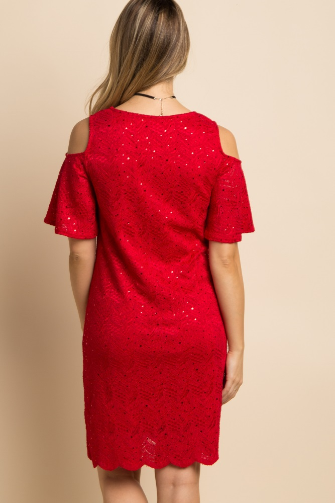 f01e6c3555dec Red Sparkle Lace Overlay Cold Shoulder Maternity Dress