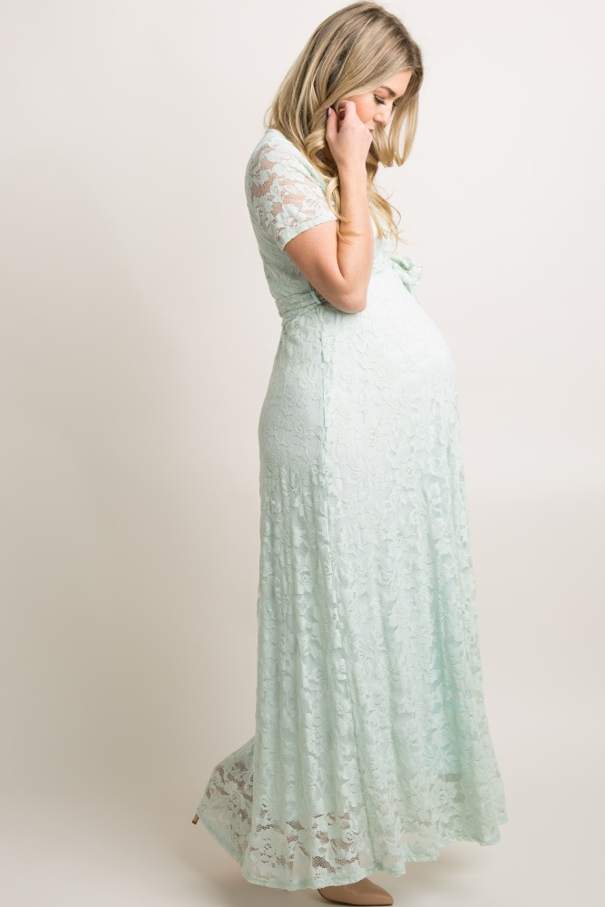 89c1ad79f9224 Mint Green Lace Sash Tie Maternity Gown