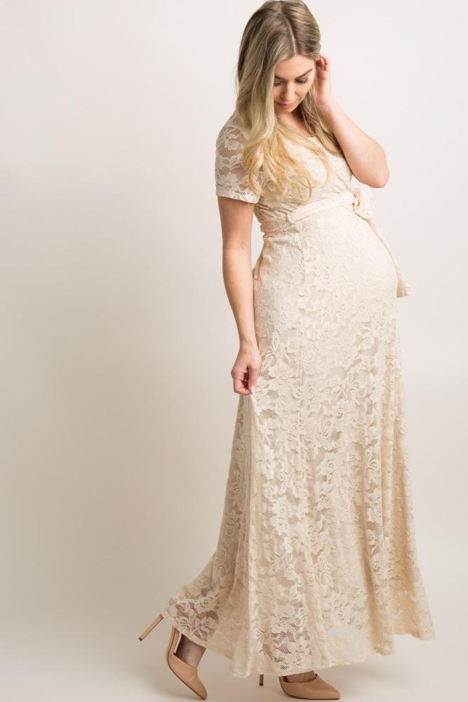 f6d8571515f3b Beige Lace Sash Tie Maternity Gown