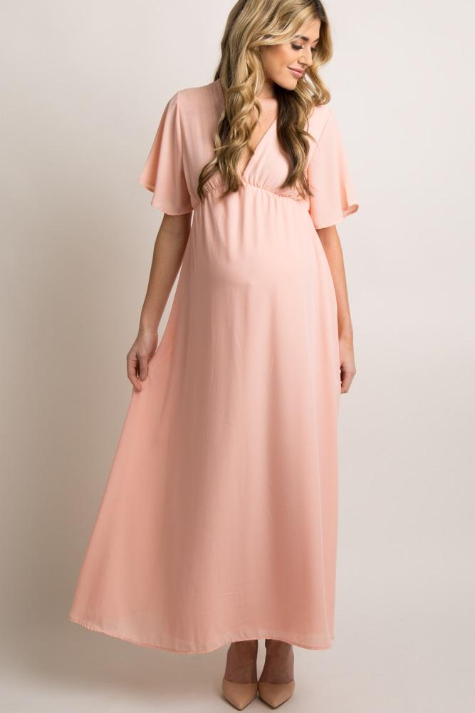 ab0285815c6a Light Pink Chiffon Bell Sleeve Maternity Maxi Dress
