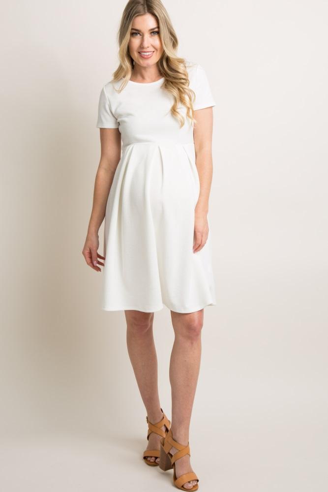e08d1aa4e24bc Ivory Basic Pleated Skirt Maternity Dress