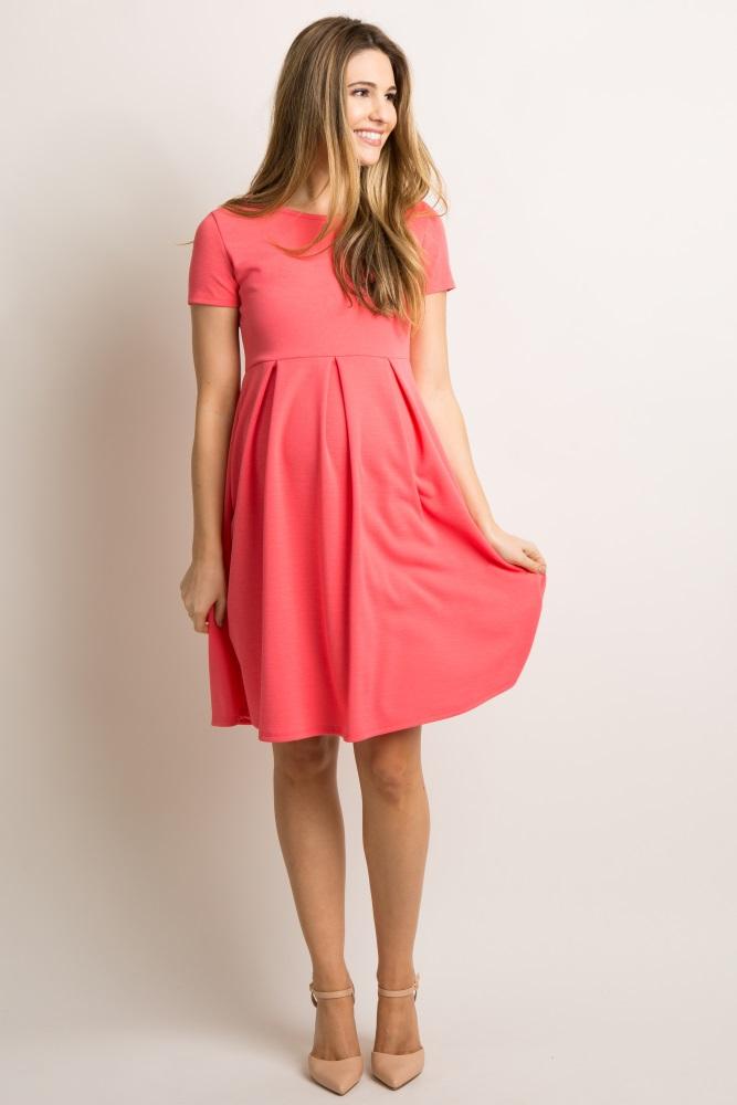 03bdbee07c Coral Basic Pleated Skirt Maternity Dress