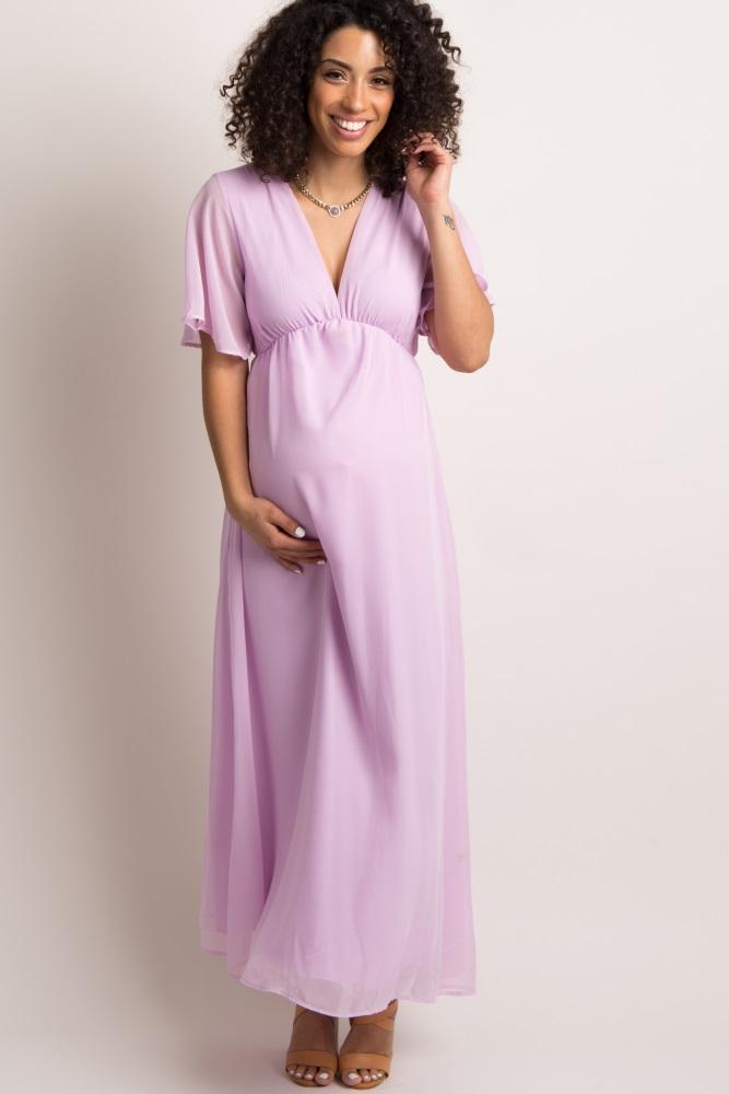 b1d1eacd69 Lavender Chiffon Bell Sleeve Maternity Maxi Dress