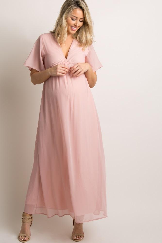 a664bdf49e Mauve Chiffon Bell Sleeve Maternity Maxi Dress