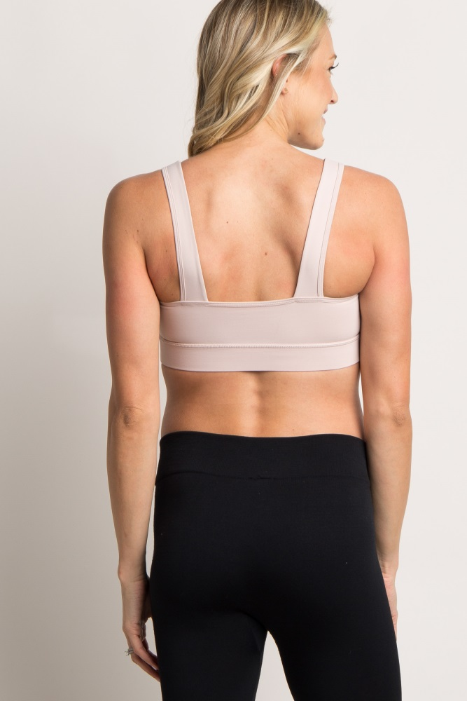 684f49fd9 Peach Twist Front Cutout Maternity Sports Bra
