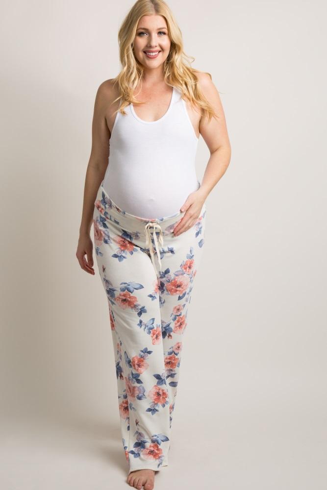 46cc8b0a6da62 White Floral Plus Maternity Pajama Pants