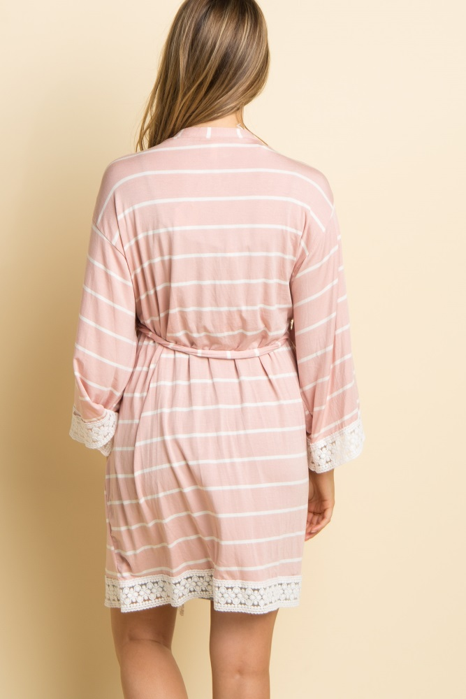 3e5d4dc25f0 Light Pink Striped Lace Trim Delivery Nursing Maternity Robe