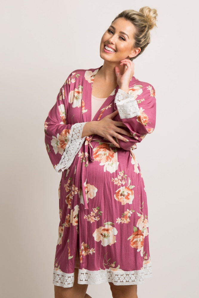 mauve floral crochet trim delivery/nursing maternity robe