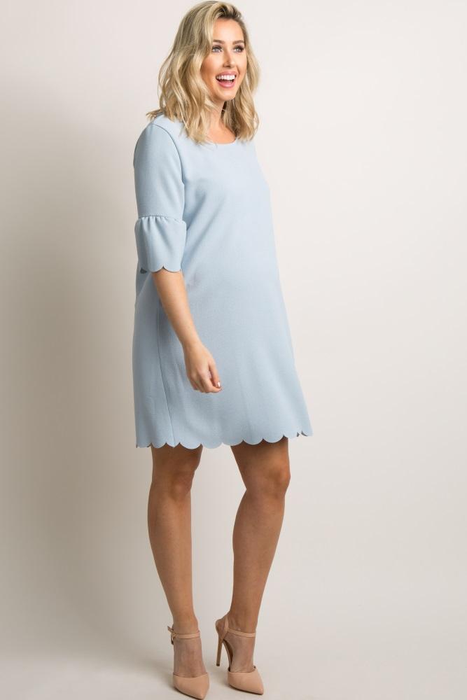 f63dc6e72c735 Light Blue Ruffle Sleeve Scalloped Hem Maternity Dress