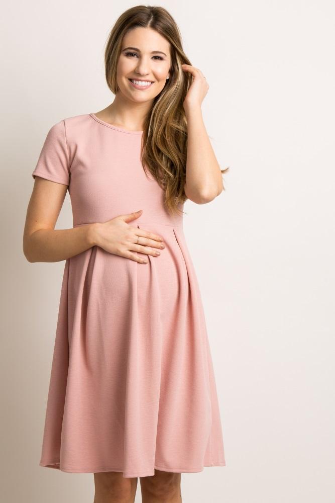 a3c9fe22f4 Pink Basic Pleated Skirt Maternity Dress