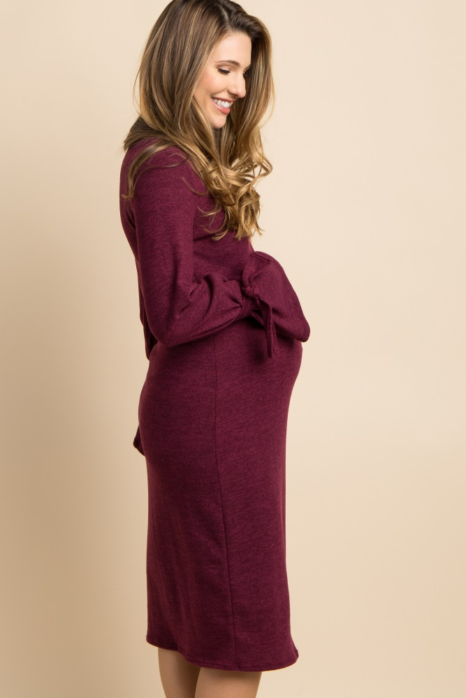 80898a1bb5842 Burgundy Solid Sleeve Tie Accent Maternity Dress