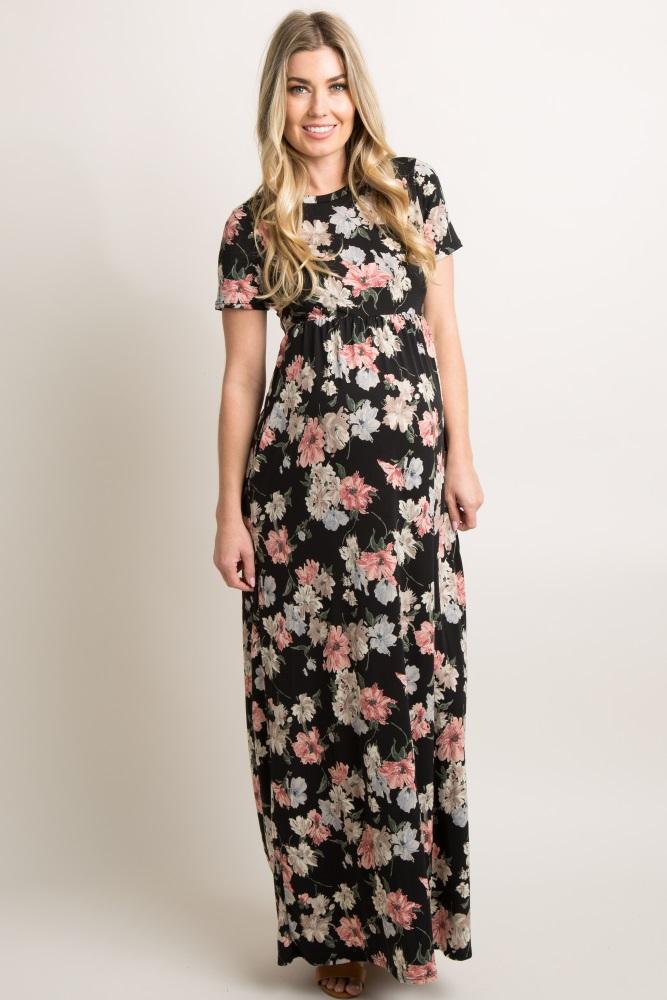164d843423ded Black Floral Print Short Sleeve Maternity Maxi Dress