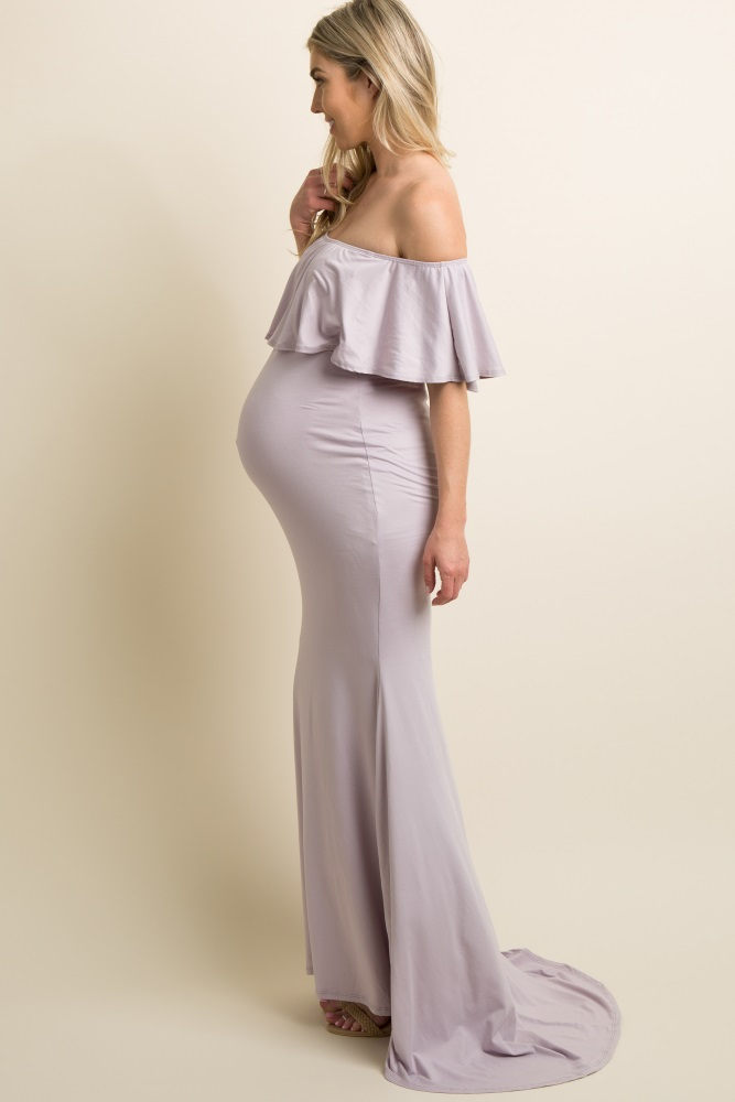 d5785c19256 Lavender Ruffle Off Shoulder Mermaid Maternity Photoshoot Gown Dress
