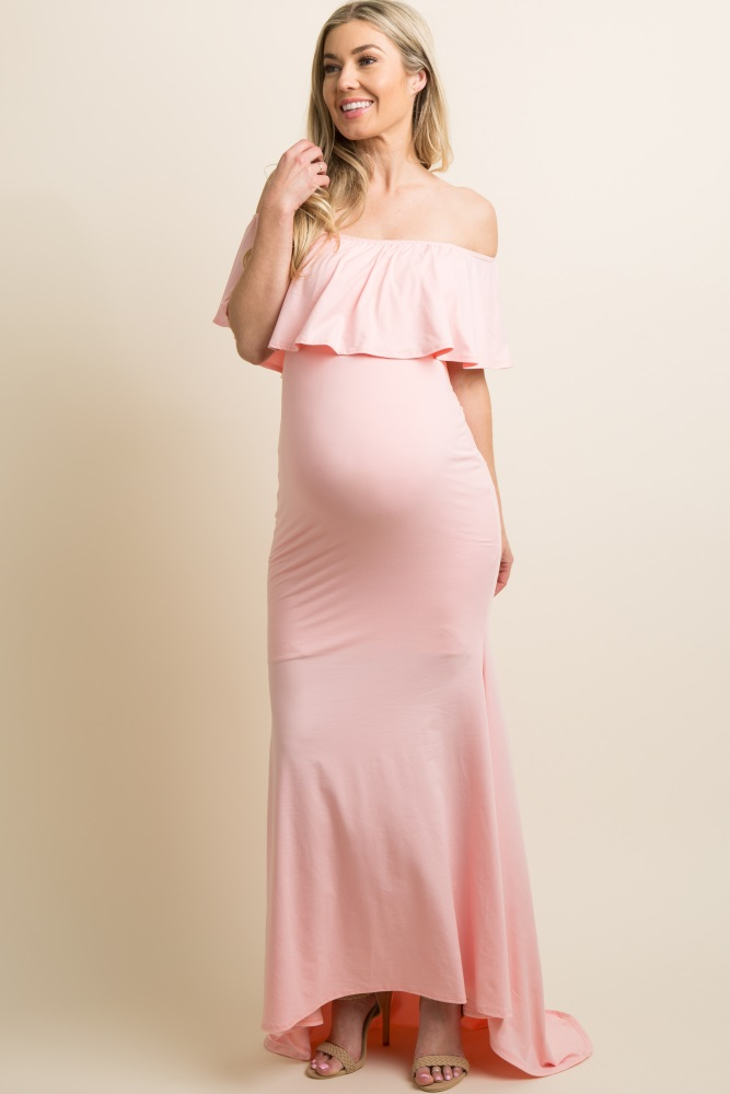 57912bef214 Pink Ruffle Off Shoulder Mermaid Maternity Photoshoot Gown/Dress