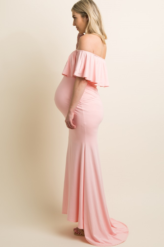 c4d92df4128 Pink Ruffle Off Shoulder Mermaid Maternity Photoshoot Gown Dress