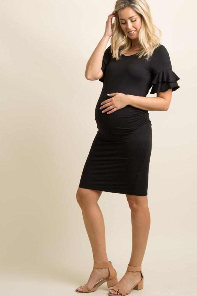 dcd71f6e1e3e1 Black Layered Ruffle Sleeve Fitted Maternity Dress