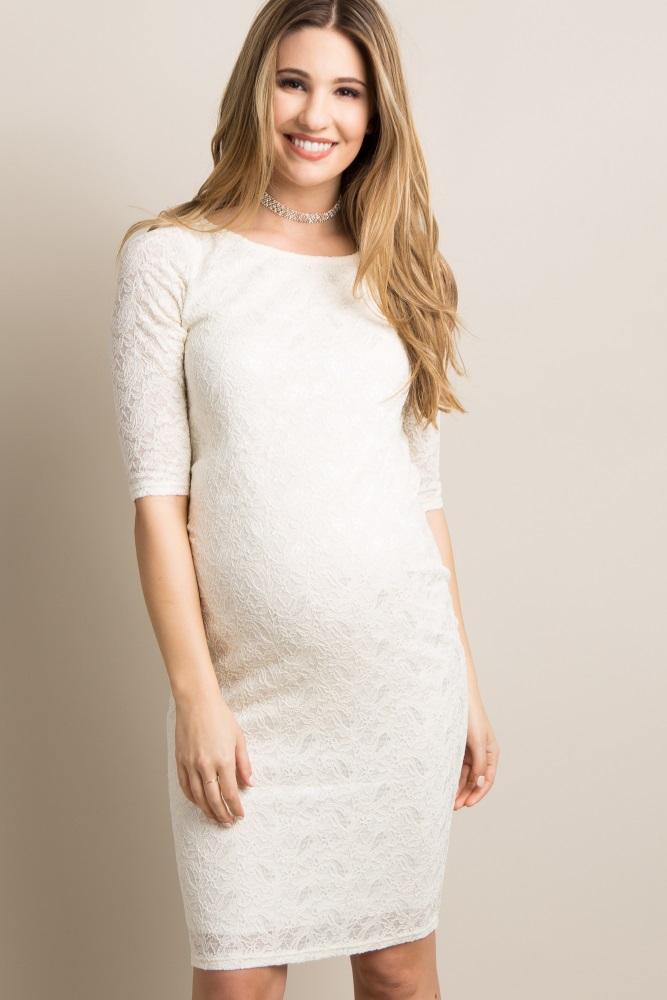 Petite Ivory Lace Maternity Dress