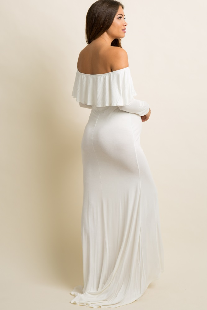 941cbb59a93db Ivory Off Shoulder Ruffle Maternity Photoshoot Gown/Dress