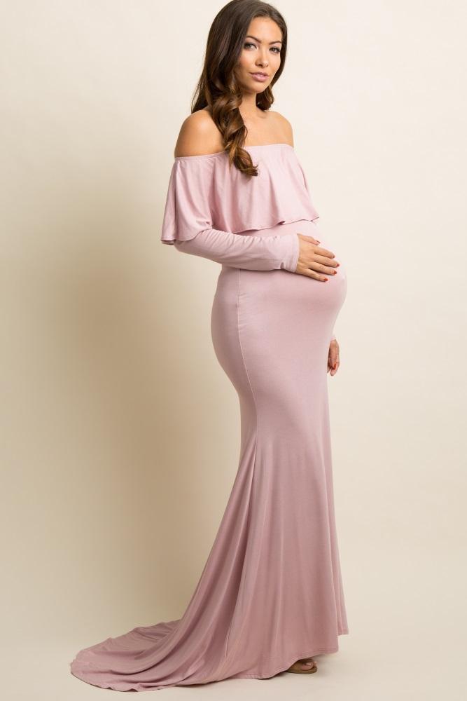 45708a63a9e Mauve Off Shoulder Ruffle Maternity Photoshoot Gown Dress