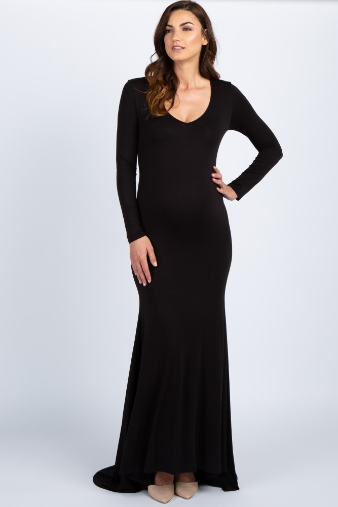 7e10788676a1e Black Long Sleeve Photoshoot Maternity Gown/Dress