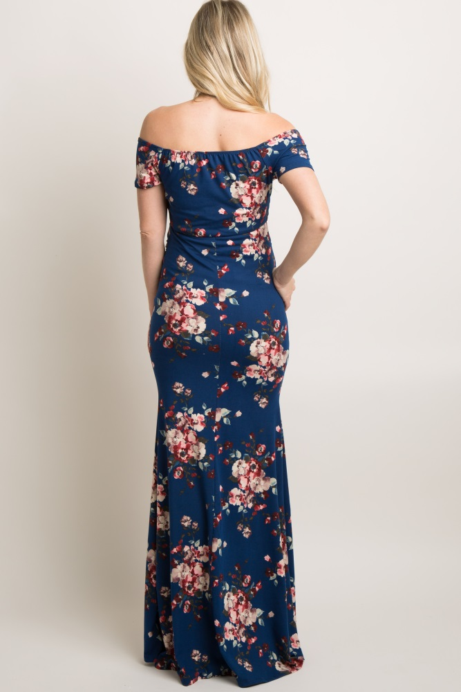 ec11373a54 Navy Floral Off Shoulder Wrap Maternity Photoshoot Gown Dress