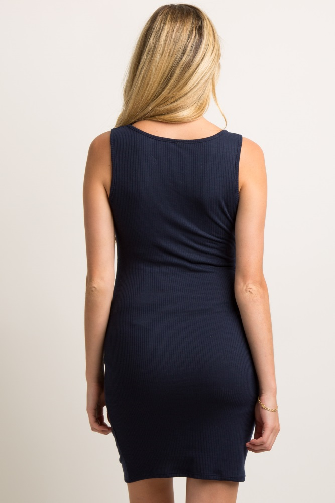 121352d2a9ab2 Navy Blue Sleeveless Ribbed Fitted Maternity Dress