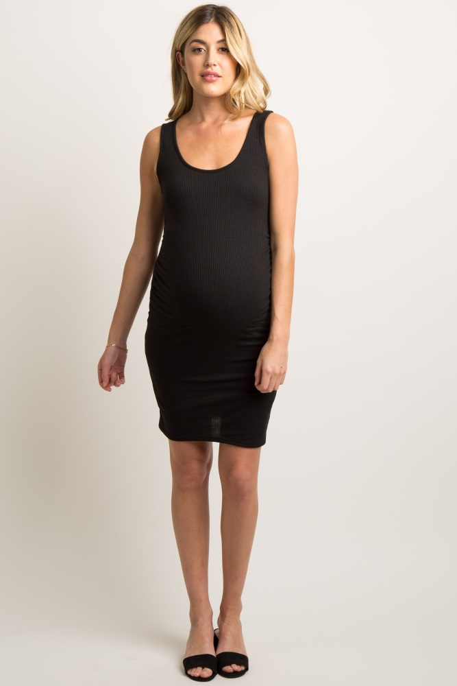 1a88d650d9872 Tall Black Sleeveless Ribbed Fitted Maternity Dress